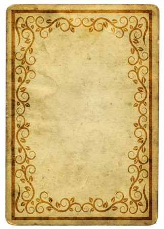 floral border: old paper with floral border Stock Photo