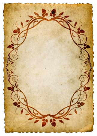 old paper with floral border oval photo