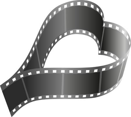 carrete de cine: La forma del coraz�n del rollo de pel�cula Vectores