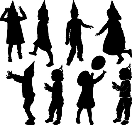 silhouette of children who plays and moves Vector