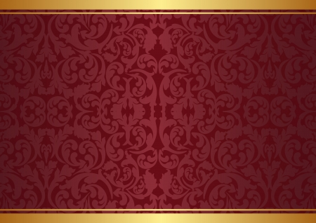 maroon and gold background with ornaments