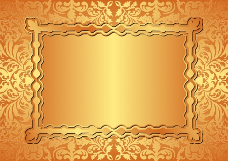 golden background with floral ornaments Stock Vector - 16504003