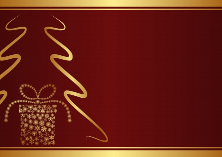 maroon background with christmas tree and gift box Vector