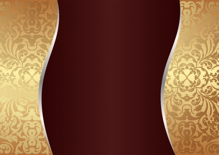 claret and gold background with ornaments Vector