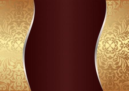 claret red: clarete y fondo de oro con adornos Vectores