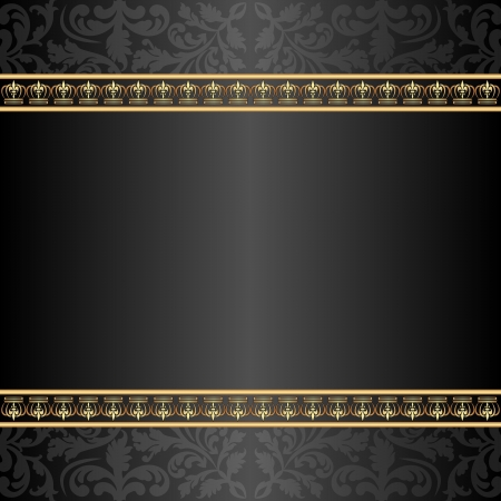 brass plate: black and gold background with ornaments