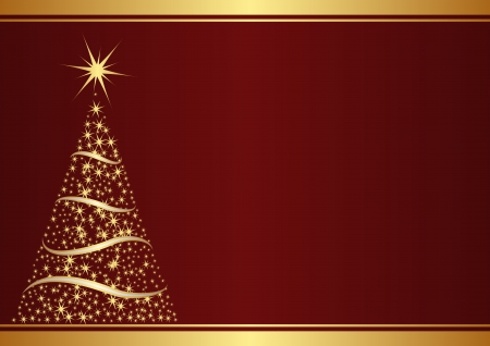 claret red: red background with christmas tree  Illustration
