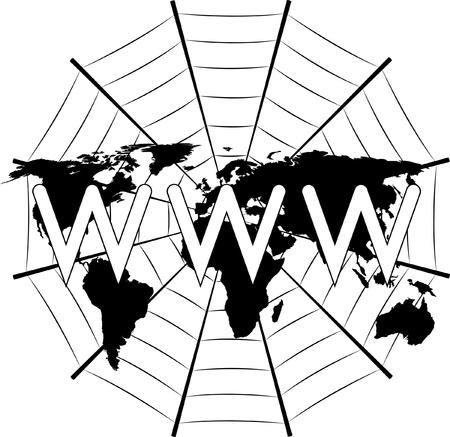 world wide web: world wide web sign on world map and cobweb