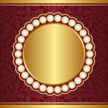 claret red: crimson and gold  background with pearls