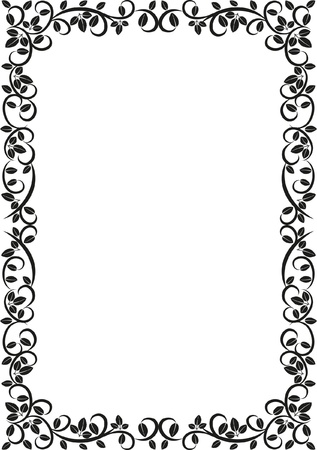 rectangle patterns: silhouette of floral frame