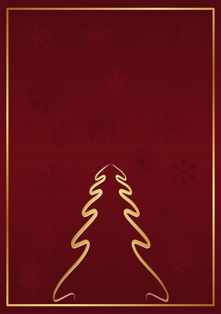 crimson background with Christmas tree and snowflakes Vector