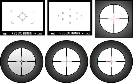 viewfinder: mirino della macchina fotografica digitale e fucile da cecchino, spazio libero per le immagini Vettoriali