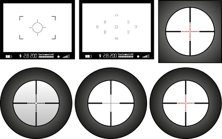 marksman: viewfinder of digital camera and sniper rifle, free space for pictures