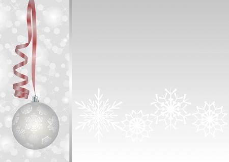moños navideños: fondo blanco con adornos de Navidad y copos de nieve