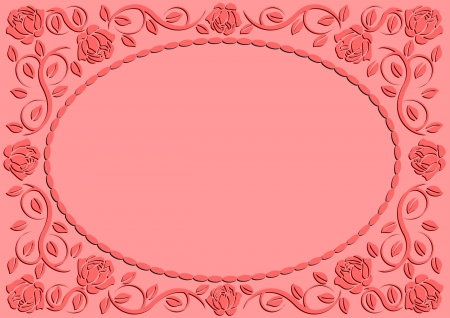 pink background with roses frame