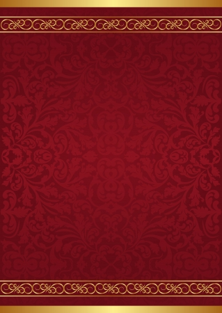 maroon background with gold ornaments Illustration