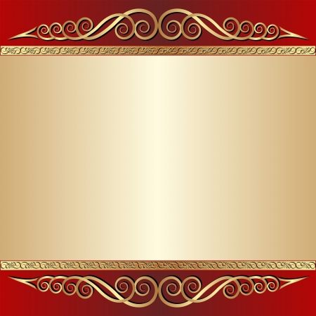 maroon: red and gold  background with ornaments Illustration