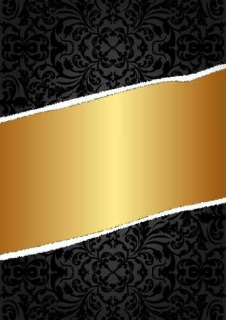 ripped: black and gold background with ornaments