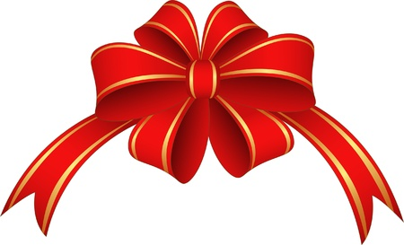 red ribbon bow: Red and gold  ribbon and bow   illustration