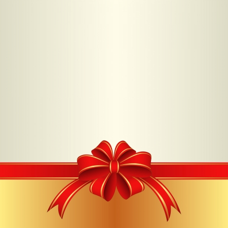 light background with red ribbon and bow Vector