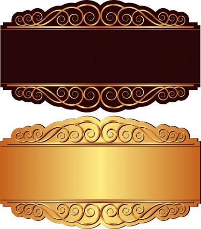 brass plate: gold and black background with ornaments Illustration
