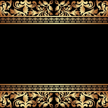 brass plate: black background with golden ornaments