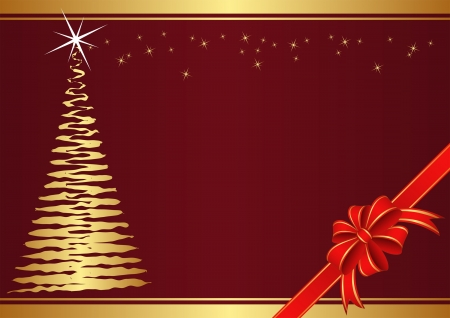 Christmas background with christmas tree and ribbon Vector