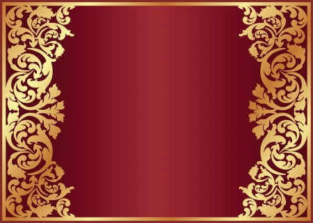 brass plate: crimson background with golden ornaments Illustration
