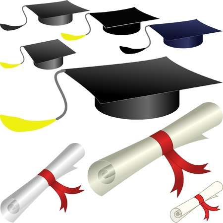 commencement: graduation cap and diploma