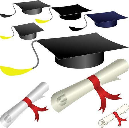 scholar: graduation cap and diploma