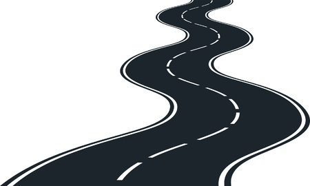roadway: Road curves - clip art illustration