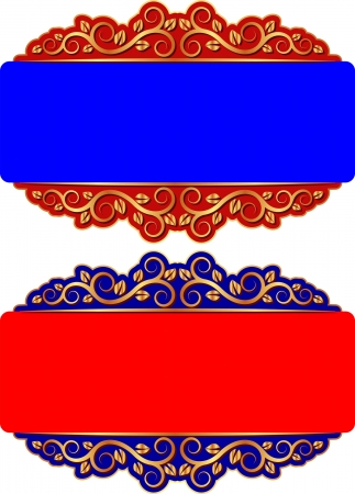 red and blue background with golden ornaments Vector
