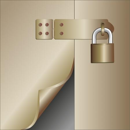 broken door with a padlock Stock Vector - 17065670