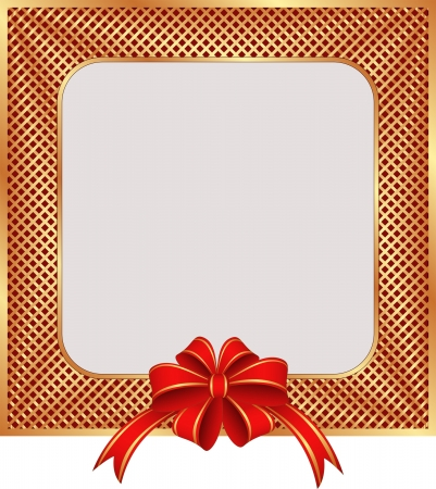 golden  background with a red ribbon for gifts and copy space Stock Vector - 17065662