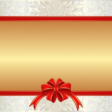 glamour background with ornaments and red ribbon for gifts