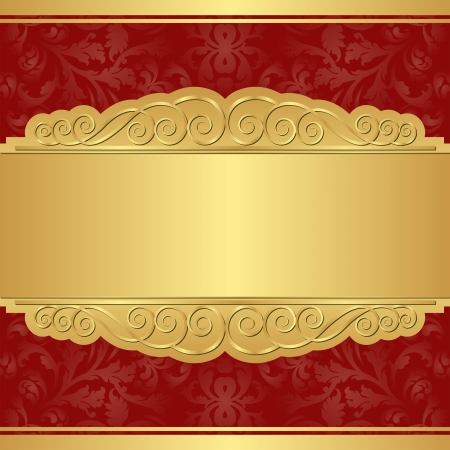 claret red: gold and red background with copy space