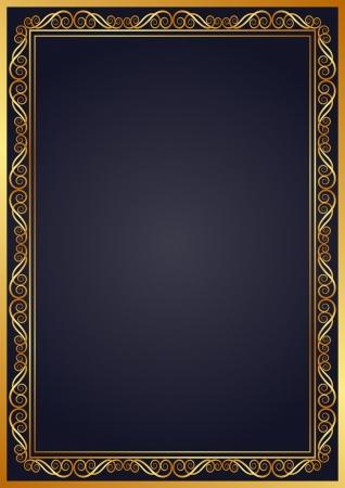navy blue background: navy blue background with golden ornaments Illustration
