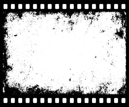 destroyed: grunge filmstrip with transparent space insert for picture or text