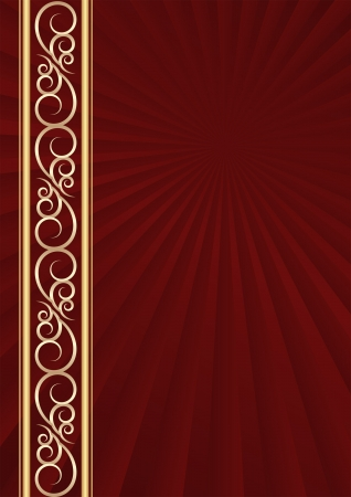 maroon background with golden ornaments Vector