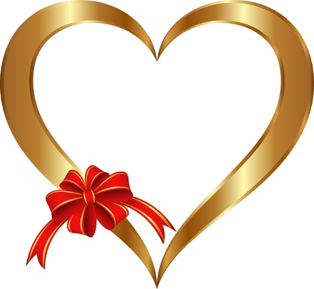 isolated golden heart with red ribbon and bow