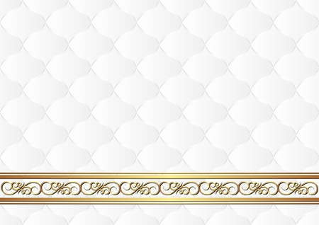 quilted fabric: white background with gold ornaments Illustration
