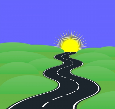roadway: Road curves leading to the sun Illustration