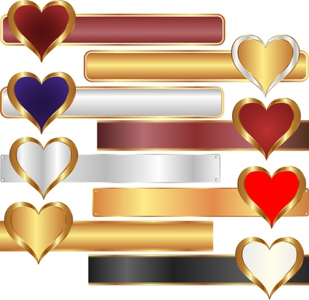 gold heart: long banner with heart