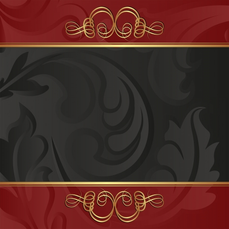blackand red  background with golden ornaments Vector
