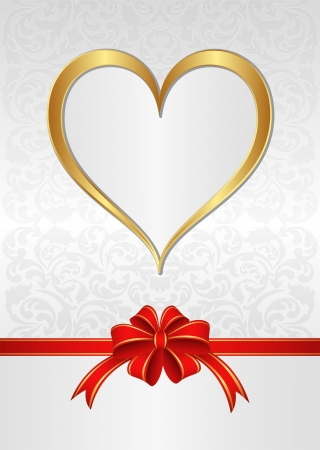 white background with red ribbon for gifts and golden heart Stock Vector - 17367828