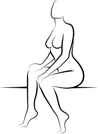 mujer desnuda sentada: mujer desnuda sentada - ilustraci�n