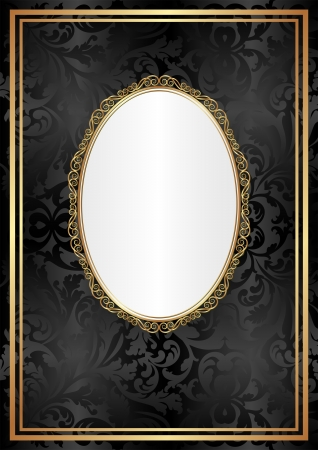 oval frame: black and white background with golden ornaments