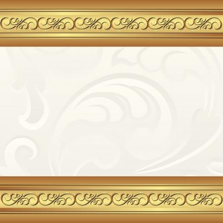cremoso: fundo cremoso dourado com ornamentos florais Ilustra��o