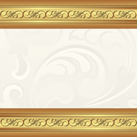 golden creamy background with floral ornaments Vector