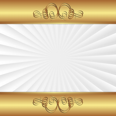 quadrat: golden and white background with ornaments Illustration